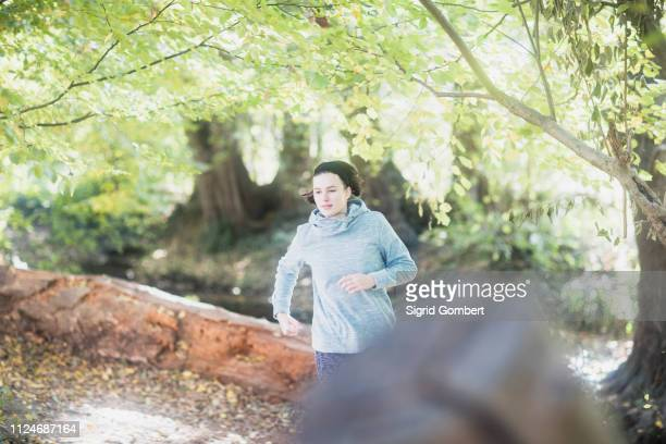 cross country jogger running in park - sigrid gombert stock pictures, royalty-free photos & images