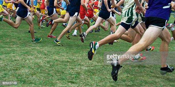 a cross country race being run outside - cross country running stock pictures, royalty-free photos & images
