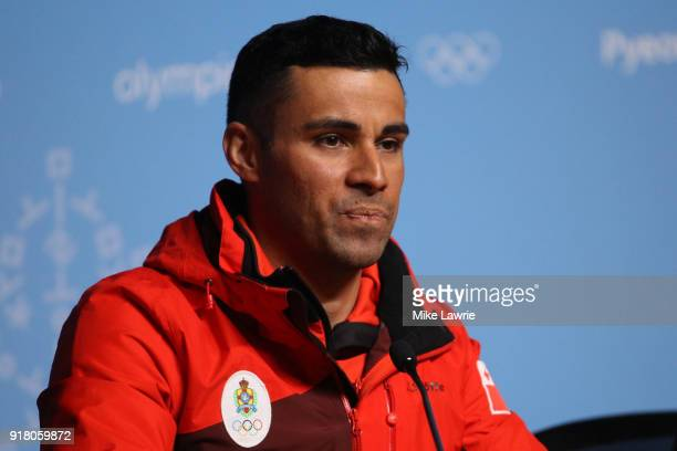 Cross country skier Pita Taufatofua of Tonga speaks during a press conference at the Main Press Centre during the PyeongChang 2018 Winter Olympic...