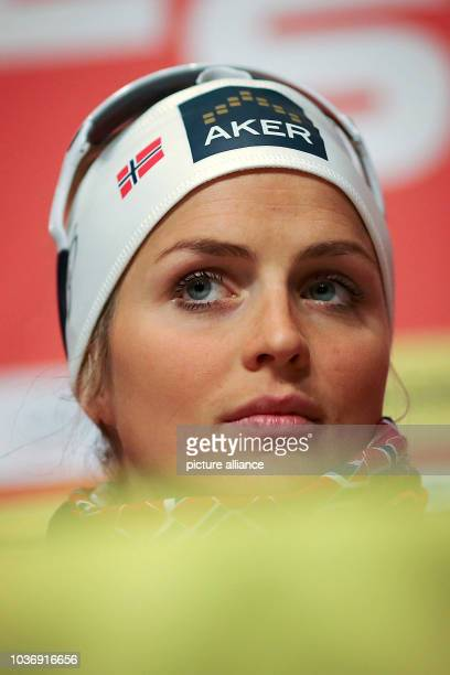 Cross country skier Therese Johaug of Norway attends a press conference during the Nordic Skiing World Championships in Falun Sweden 23 February 2015...