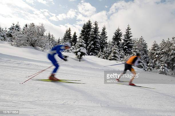 Cross country skiers practicing downhill