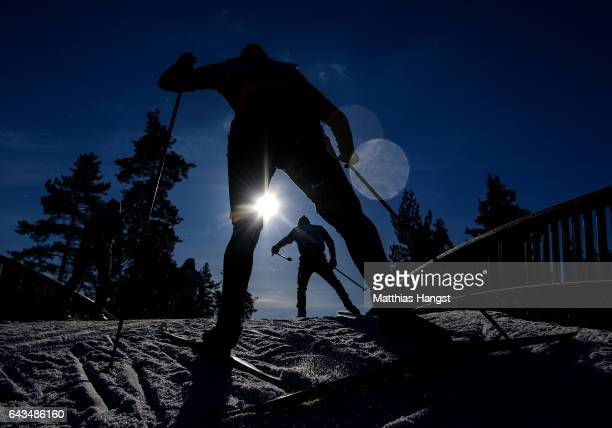 Cross Country skiers take part in training ahead of the FIS Nordic World Ski Championships on February 21, 2017 in Lahti, Finland.