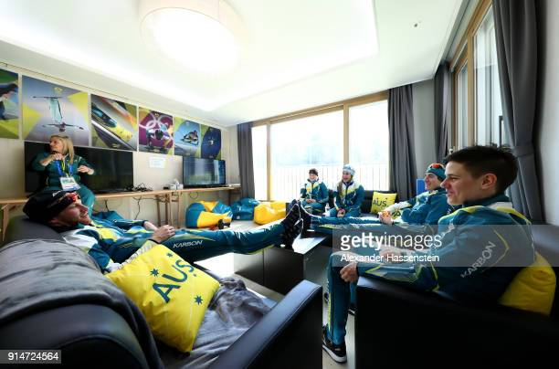Cross country skiiers Casey Wright Aimee Watson Jessica Yeaton Barbara Jezersek Callum Watson and Phil Bellingham from Team Australia sit in an...