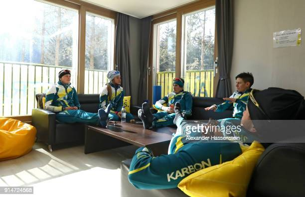 Cross country skiiers Casey Wright Jessica Yeaton Barbara Jezersek Callum Watson and Phil Bellingham from Team Australia sit in an apartment in the...