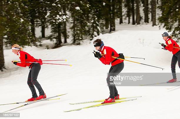 cross country skiing at downhill - nordic skiing event stock pictures, royalty-free photos & images