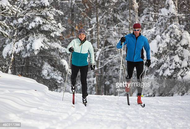 cross country skiing couple - cross country skiing stock pictures, royalty-free photos & images