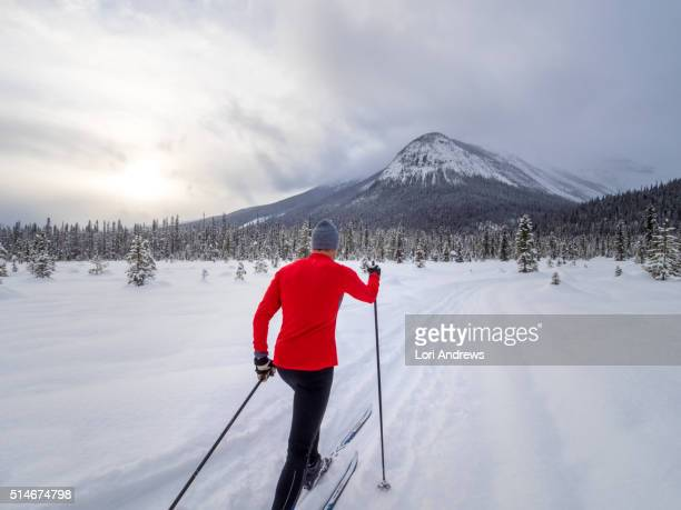 Cross country skiing man in mountains