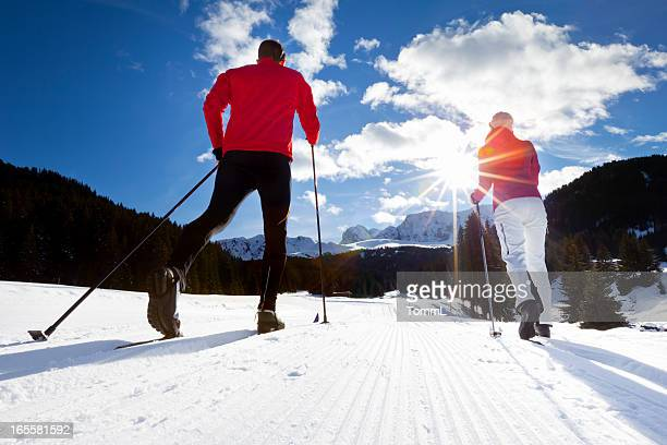cross country skiing - telemark stock pictures, royalty-free photos & images