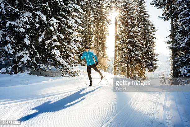cross country skiing - winter sport stock pictures, royalty-free photos & images