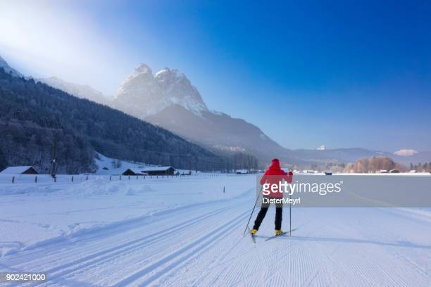 Cross Country Skiing towards Mount Zugspitze