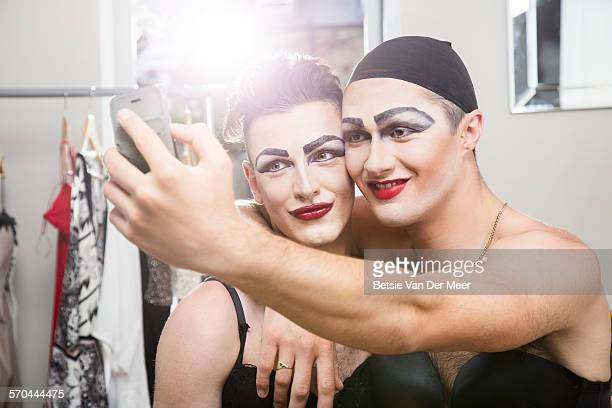cross dressers taking selfies of themselves - crossdressing stock pictures, royalty-free photos & images