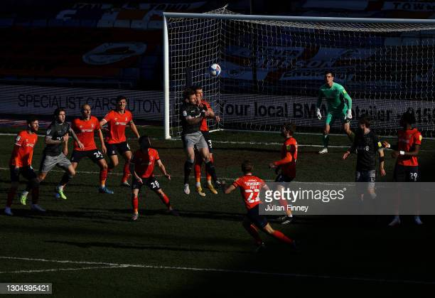 Cross goes in during the Sky Bet Championship match between Luton Town and Sheffield Wednesday at Kenilworth Road on February 27, 2021 in Luton,...