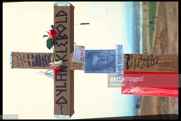 Cross in remembrance of Dylan Klebold who w friend Eric Harris went on shooting spree at Columbine High School killing 13 ending in their suicides...