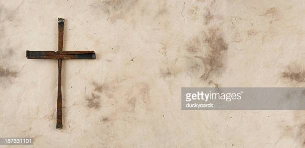 cross made of rusty nails on grunge background - the crucifixion stock pictures, royalty-free photos & images