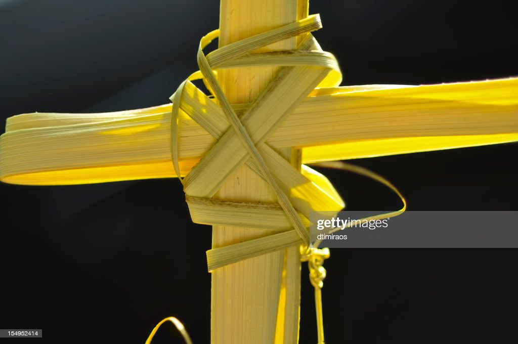 Cross made out of palm fronds. : Stock Photo