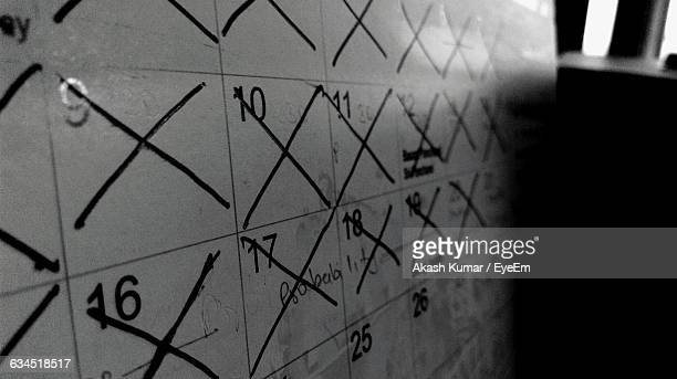 Cross Marks On Calendar