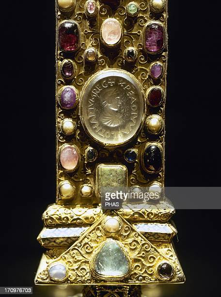 Cross of the Emperor Lothair II . 11th century. Gold and precious gems. Detail. Aachen Cathedral Treasury. Germany.