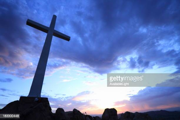 Cross on Hill at Sunrise