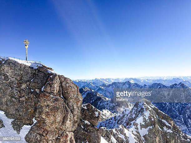 Cross on the summit of Mount Zugspitze