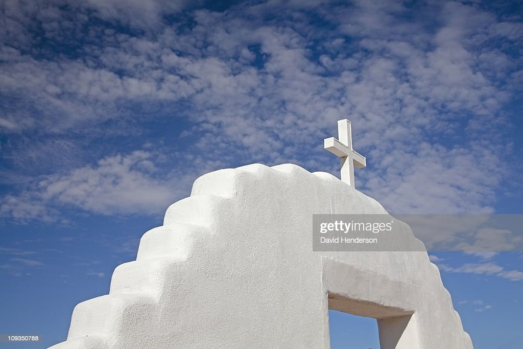 Cross on top of church, Taos, New Mexico, United States : Stock Photo