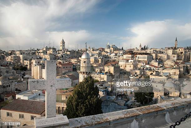 cross over the old city - historical palestine stock pictures, royalty-free photos & images