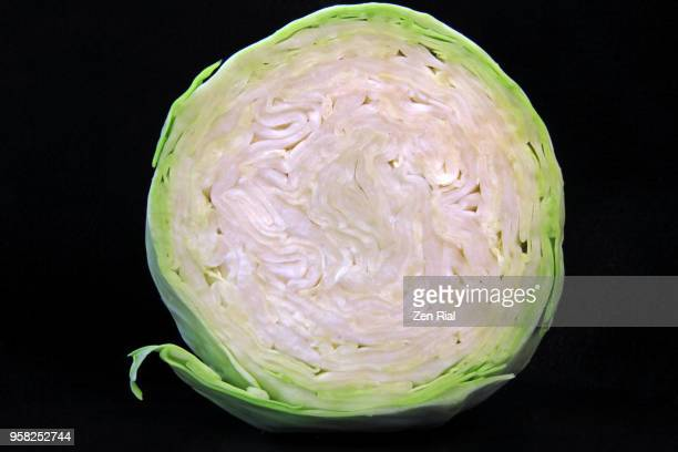 Cross section of a head of green cabbage (Brassica oleracea var. capitata) on black background