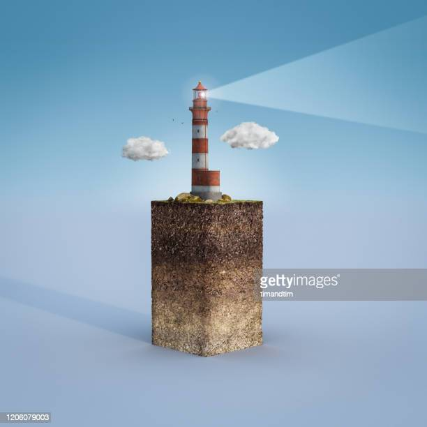 cross section of a piece of land with a lighthouse - lighthouse stock pictures, royalty-free photos & images