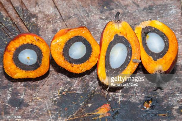 cross section of dura fruit with thick shell of palm oil used as mother palm in seeds production - palm oil stock pictures, royalty-free photos & images