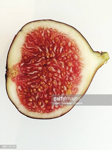 Cross Section Of Fig Against White Background