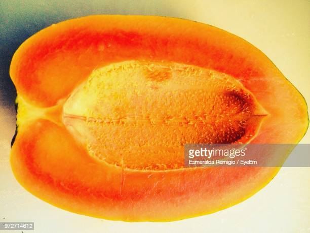 Cross Section Of Papaya On Table