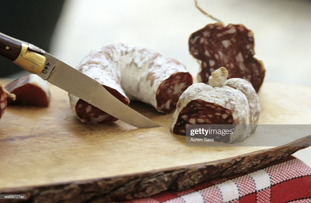 Cross section of salami : Stock Photo