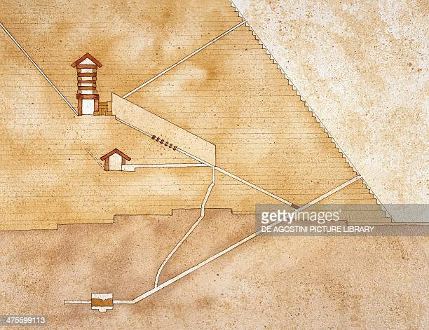 Cross section of the Great Pyramid of Khufu Giza Egypt Drawing