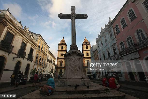 A cross stands in the historic Pelourinho neighborhood on January 10 2014 in Salvador Brazil Salvador the original capital of Brazil will host six...