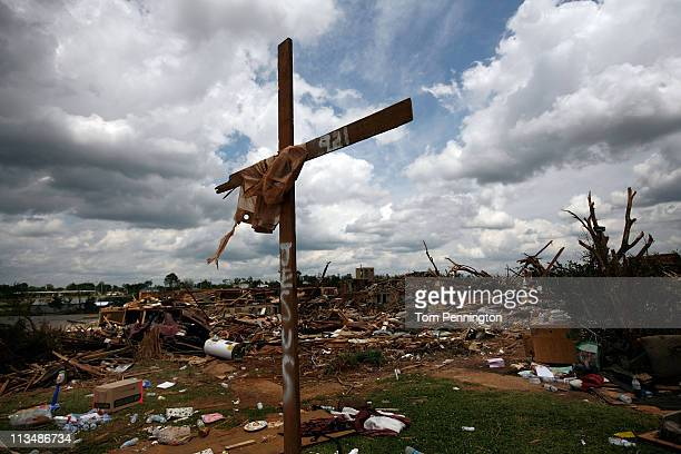 Cross stands over a destroyed neighborhood on May 2, 2011 in Tuscaloosa, Alabama. Alabama, the hardest-hit of six states, is reported to have been...