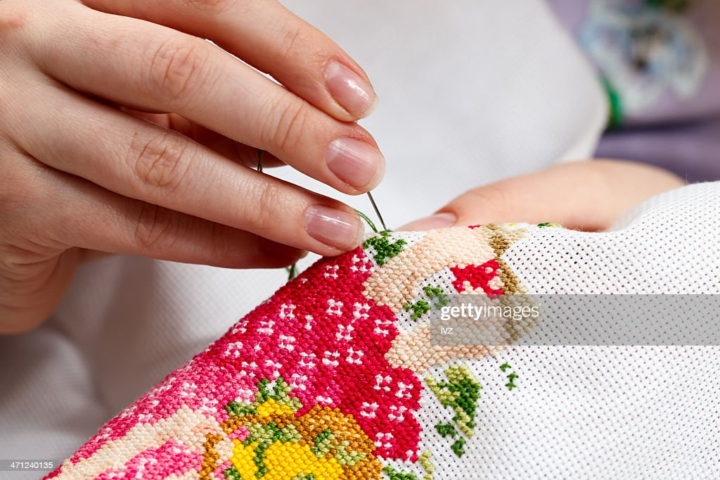 Cross stitching a colorful design