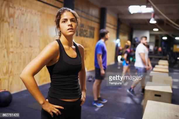 Cross training gym, exercising and focus concepts.