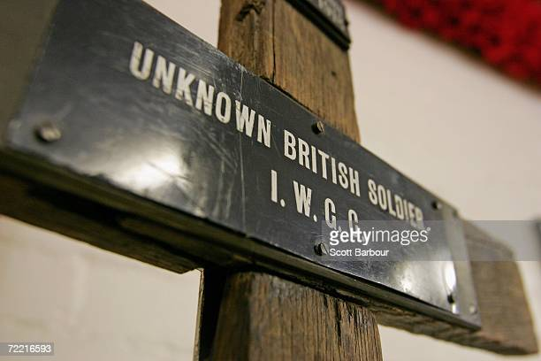 A cross used in the battlefields of WWI sits on display at the Royal British Legion Poppy Factory on October 19 2006 in London England The Poppy...