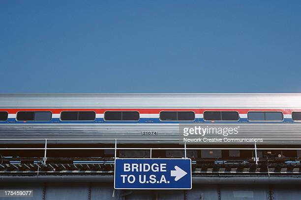 CONTENT] Crossborder passenger train on bridge at Niagara Falls Ontario Canada 1991