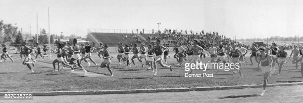 Crosscountry Harriers From 13 Schools Provide A Mob Scene Saturday In 14th Annual Running Of The Denver Prep League's Invitational Meet At South High...