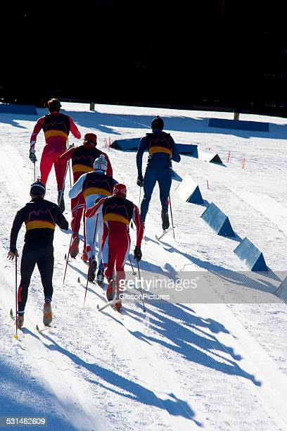 cross-country ski race - nordic skiing event stock pictures, royalty-free photos & images