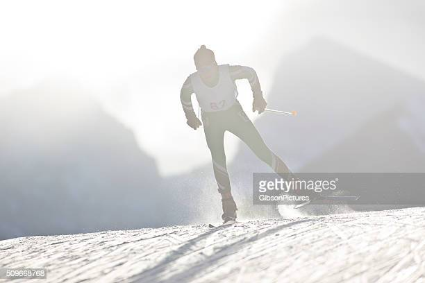 cross-country ski racer - langlaufen stockfoto's en -beelden