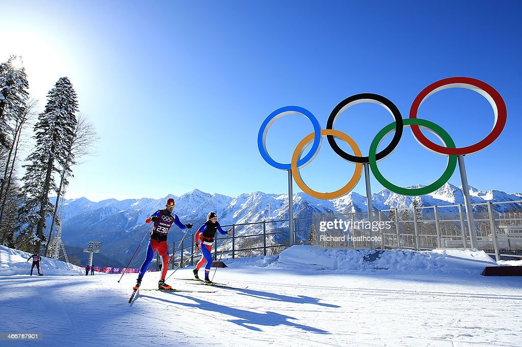 Cross-country skier Dusan Kozisek (L) of the Czech Republic practices ahead of the Sochi 2014 Winter Olympics at the Laura Cross-Country Ski and Biathlon Center on February 4, 2014 in Sochi, Russia.