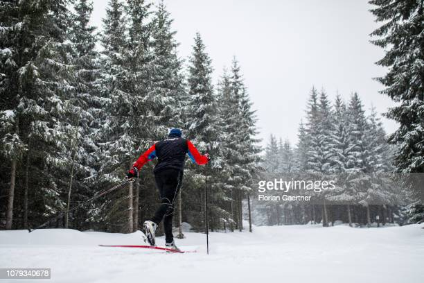 A crosscountry skier is pictured at the Jizera Mountains on January 03 2019 in Bedrichov Czech Republic