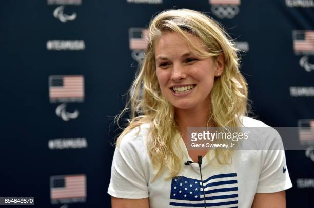 Crosscountry skier Jessie Diggins addresses the media during the Team USA Media Summit ahead of the PyeongChang 2018 Olympic Winter Games on...