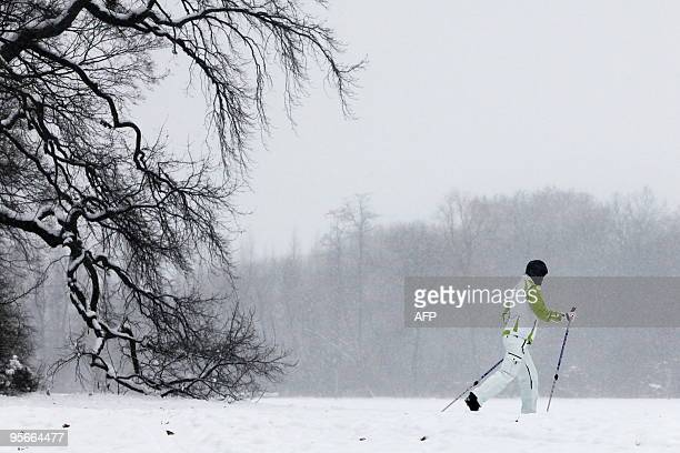 A crosscountry skier makes her way through the snow in Berlin's Treptower Park on January 9 2010 As Germany braced itself for a blizzard with heavy...