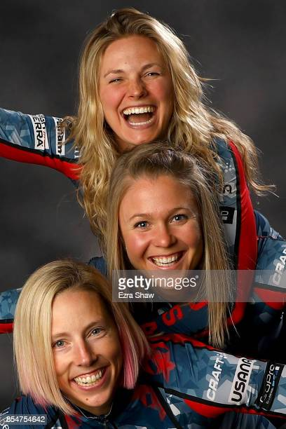 CrossCountry Skiers Kikkan Randall Sadie Bjornsen and Jessie Diggins pose for a portrait during the Team USA Media Summit ahead of the PyeongChang...