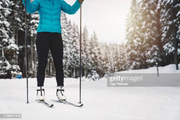 Langlauf-Skifahrer im verschneiten Wald