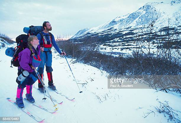 cross-country skiing - chugach mountains stock pictures, royalty-free photos & images