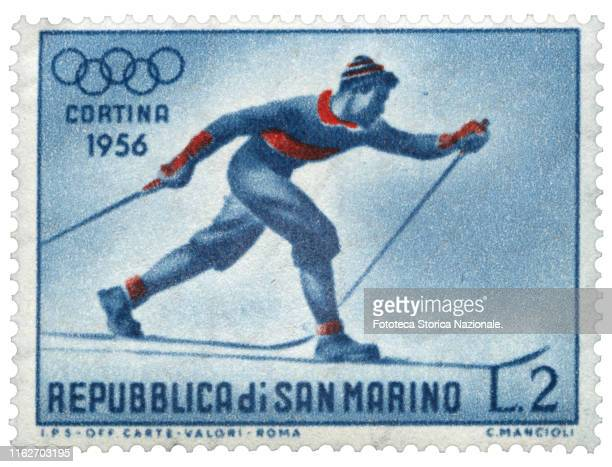 Crosscountry skiing Postage stamp from the series dedicated by the Postal Service of the Republic of San Marino to sports practiced in the 7th Winter...