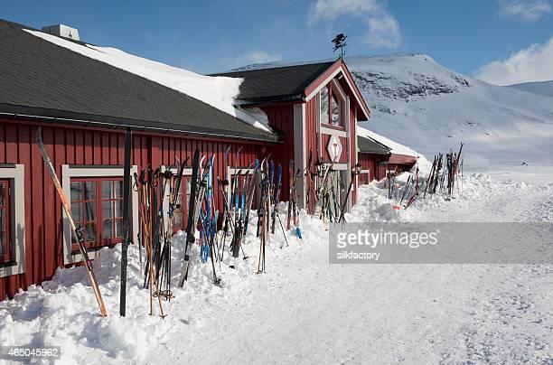 Cross-country skis outside mountain resort in Jotunheimen